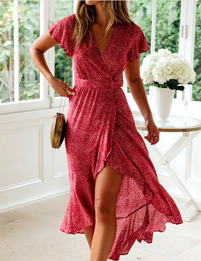 cheap Summer Dresses & Boho-Women's Yellow Red Dress Sheath Print V Neck S M