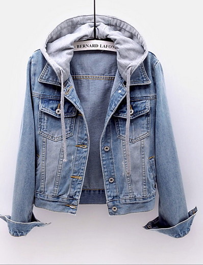 cheap Jackets-Women's Jacket Daily Fall Spring Regular Coat Regular Fit Casual Jacket Long Sleeve Color Block Denim Gray Red