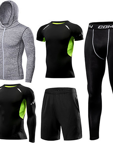 cheap Running, Jogging & Walking-1bests Men's Full Zip Activewear Set Workout Outfits Compression Suit Athletic 5pcs Winter Long Sleeve Quick Dry Lightweight Breathable Fitness Gym Workout Basketball Running Sportswear Solid Colored