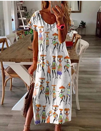 cheap NEW IN-Women's Sundress Maxi long Dress - Short Sleeves Graphic Print Summer Casual Holiday Vacation Loose White Blue Blushing Pink Light Purple Fuchsia S M L XL XXL XXXL