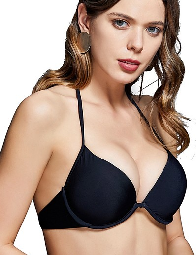 cheap Bikini Tops-Women's Bikini Swimsuit Solid Colored Swimwear Bathing Suits Black