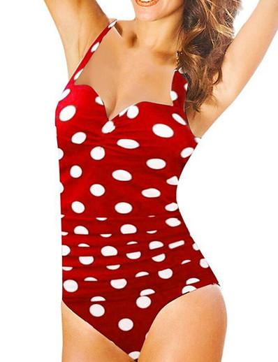 cheap Plus size-Women's One Piece Swimsuit Black Red Navy Blue Plus Size Swimwear Bathing Suits