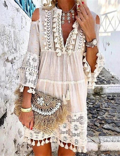 cheap Daily Dresses-Women's Boho Holiday Vacation Beach Casual Boho Shift Dress - Solid Colored Lace Tassel Fringe Deep V Spring & Summer Yellow Orange Blue S M L XL