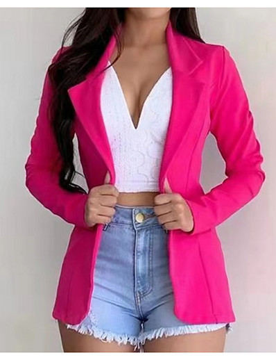 cheap Blazers-Women's Blazer Classic Style Solid Colored Fashion Long Sleeve Coat Daily Fall Spring Regular Jacket Yellow / Regular Fit / Notch lapel collar / Date