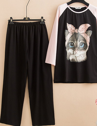 cheap Pajamas-Women's Suits Nightwear Blushing Pink Blue XXXXL XXXXXL