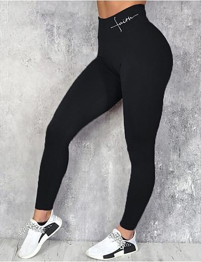 abordables Leggings-Femme Quotidien Des sports Sportif Basique Legging Couleur Pleine Lettre Imprimé Taille haute Noir Bleu Vin S M L