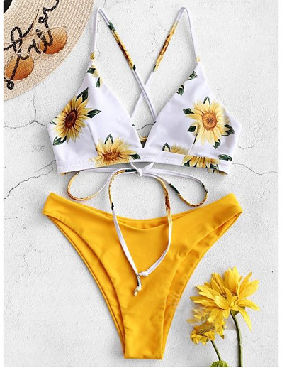 cheap NEW IN-Women's Basic Purple Yellow Army Green Halter Cheeky Bikini Swimwear Swimsuit - Floral Backless S M L Purple