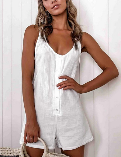 cheap Jumpsuits & Rompers-Women's White Romper Solid Colored
