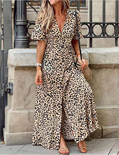 cheap Casual Dresses-Women's Maxi long Dress - Short Sleeves Leopard Print Summer Deep V Holiday Vacation High Waist Yellow S M L XL XXL XXXL