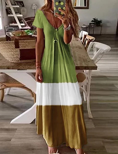 cheap SALE-Women's Maxi Blue & White Swing Dress - Short Sleeves Color Block Basic V Neck Casual Boho Daily Holiday Loose Blue Red Green Brown Gray S M L XL XXL XXXL