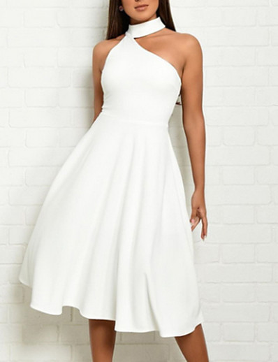 cheap Elegant Dresses-Women's Sheath Dress - Sleeveless Solid Colored Halter Neck Elegant Slim White Red S M L XL