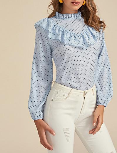 abordables Chemisiers pour Femme-nouveau printemps 2020& chemise à manches longues en mousseline de soie à pois pour femmes d'été