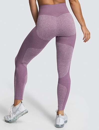 cheap Women's Bottoms-Women's Sporty Legging Color Block Mid Waist Blue Purple Yellow S M L / Slim