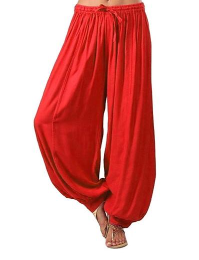 abordables Pantalons et Jupes Femme-Femme Sportif Ample Culotte Bouffante Pantalon Couleur Pleine Blanche Noir Rouge