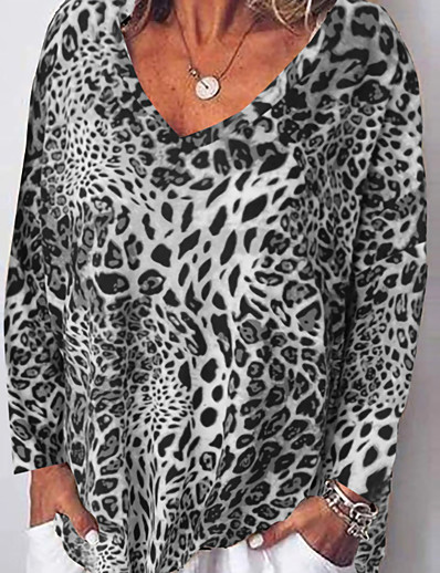cheap TOPS-Women's Daily Loose T-shirt - Leopard Loose Fit Brown