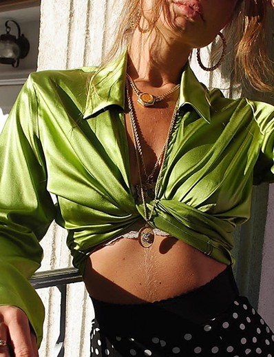cheap Crop Tops-ADOR Avocado Satin Long Sleeve Shirt