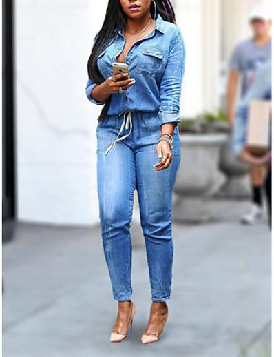 cheap JUMPSUITS & ROMPERS-Women's Plus Size Daily Shirt Collar Light Blue Jumpsuit Solid Colored Denim / Pencil