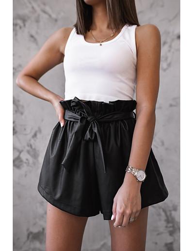 abordables Bas-Femme basique Ample Short Pantalon Couleur Pleine Noir