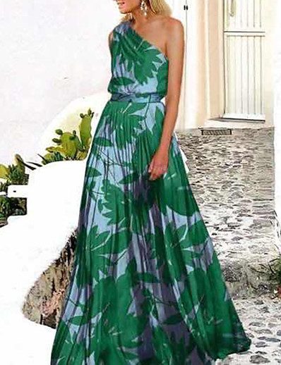 cheap Dresses-Women's Swing Dress Maxi long Dress Green Rose Red Sleeveless Print Trees / Leaves Cold Shoulder Spring & Summer One Shoulder Hot Holiday Holiday Beach 2021 S M L XL XXL