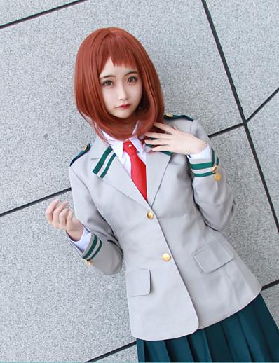 cheap Anime Cosplay-Inspired by My Hero Academia / Boku No Hero Ochaco Uraraka Schoolgirls JK Uniform Anime Cosplay Costumes Japanese Anime Solid Colored Cosplay Suits Coat Shirt Skirt For Women's / Tie / Tie