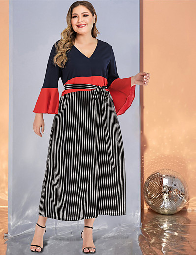 cheap Plus Size Dresses-Women's Plus Size Maxi A Line Dress - Long Sleeve Striped Color Block Solid Color Patchwork Spring & Summer Fall & Winter V Neck Casual Street chic Daily Going out Flare Cuff Sleeve Black L XL XXL