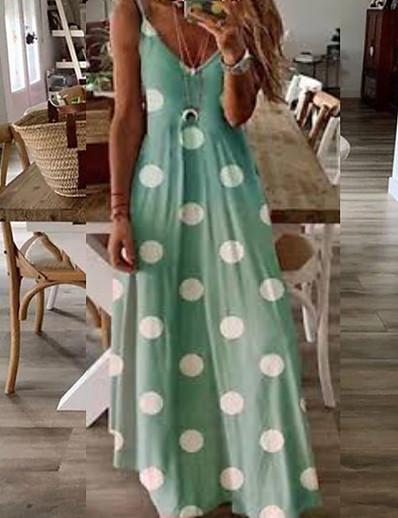 cheap Maxi Dresses-Women's Maxi A Line Dress - Sleeveless Polka Dot Spring & Summer Strap Holiday Vacation Beach Blushing Pink Green Gray S M L XL XXL XXXL