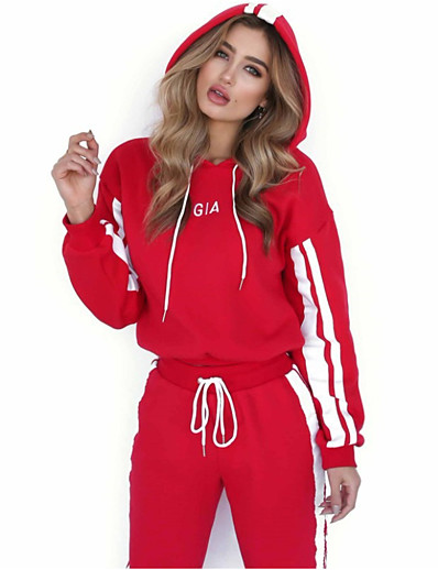 cheap Two Piece Set-Women's Geometric Causal Daily Two Piece Set Hoodie Tracksuit Pant Tops
