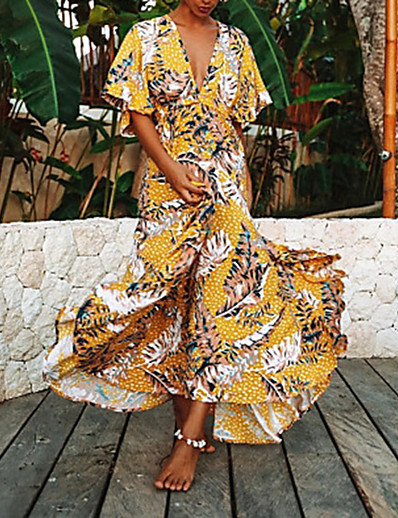 cheap 05/13/2020-Women's Maxi Sheath Dress - Short Sleeves Print Backless Spring & Summer V Neck Boho Yellow S M L XL