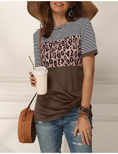 cheap Tees & T Shirts-Women's T-shirt Color Block Round Neck Tops Blue Blushing Pink Khaki