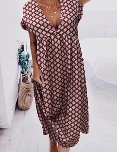 cheap NEW IN-Women's Shift Dress - Short Sleeves Polka Dot Floral Summer V Neck Boho Casual Loose 2020 Blue Purple Blushing Pink Dark Gray S M L XL XXL XXXL