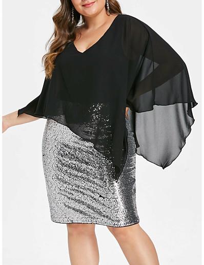 cheap PLUS SIZE-Women's Plus Size Denim Dress - Sleeveless Solid Color Sequins Spring & Summer V Neck Glittering Daily Loose Black XL XXL XXXL XXXXL XXXXXL