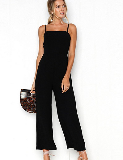 cheap Jumpsuits & Rompers-Women's Basic Strap Black Red Yellow Slim Jumpsuit Solid Colored / Wide Leg