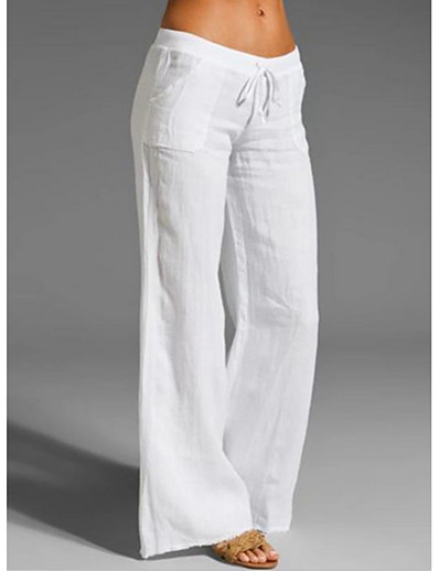cheap Bottoms-Women's Basic Loose Wedding Daily Going out Chinos Pants Solid Colored White Black Blue