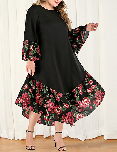 cheap Dresses-Women's Plus Size Maxi A Line Dress - Long Sleeve Floral Color Block Solid Color Patchwork Casual Boho Daily Going out Flare Cuff Sleeve Belt Not Included Loose Black L XL XXL XXXL XXXXL / Retro