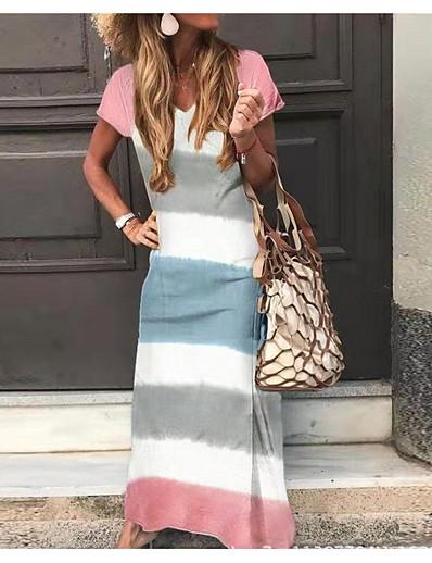cheap SALE-Women's Maxi Sheath Dress - Short Sleeves Color Block V Neck Green Light Blue S M L XL XXL XXXL XXXXL XXXXXL