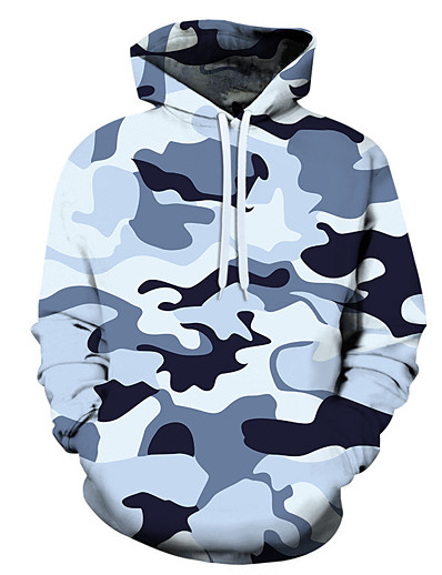 cheap Hunting Clothing-Men's Hoodie Outdoor Warm Soft Outdoor Casual Fall Winter Spring Camo Top Polyester Long Sleeve Camping / Hiking Hunting Fishing Blue