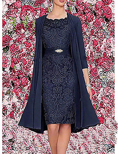 cheap Party Dresses-Women's Two Piece Dress Knee Length Dress - 3/4 Length Sleeve Floral Jacquard Spring & Summer Elegant Hot Going out Satin 2020 Wine Dark Blue Gray M L XL XXL 3XL / Chiffon