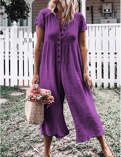 cheap Jumpsuits & Rompers-Women's Gray Purple Royal Blue Jumpsuit Solid Colored / Wide Leg