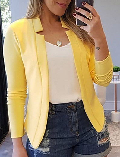 cheap Outerwear-Women's Blazer, Solid Colored Peaked Lapel Polyester Yellow / Blushing Pink / Red