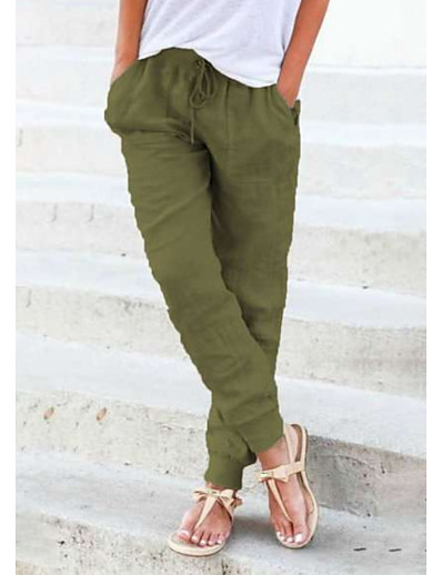 cheap Bottoms-Women's Basic wfh Sweatpants Jogger Pants - Solid Colored Yellow Army Green Blue S M L