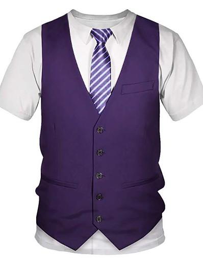 cheap Men's 3D-Men's T shirt Shirt Graphic 3D Print Short Sleeve Going out Tops Streetwear Punk & Gothic Round Neck Purple Gray / Summer / Club