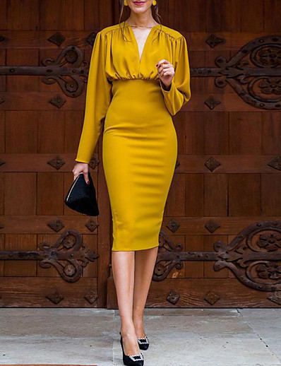 cheap 05/20/2020-Women's Bodycon Dress - Long Sleeve Solid Color V Neck Casual Daily Yellow S M L XL