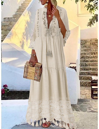 cheap Lace Dresses-Women's Maxi long Dress Blushing Pink Beige Light Blue 3/4 Length Sleeve Tassel Lace Spring & Summer Deep V Hot Casual Boho vacation dresses S M L XL XXL 3XL 4XL