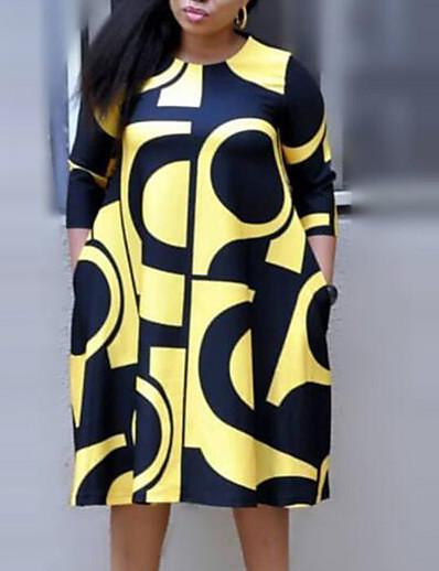 cheap Plus size-Women's Plus Size Dress Midi Dress Shift Dress 3/4 Length Sleeve Plaid Letter Fall Spring Streetwear Purple Yellow Blushing Pink XL XXL 3XL 4XL / Regular Fit / Going out / Cotton