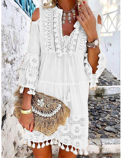 cheap Summer Dresses & Boho-Women's Shift Dress Short Mini Dress - 3/4 Length Sleeve Lace Tassel Fringe Cold Shoulder Summer Deep V Casual Boho Holiday Vacation Beach 2020 White Blue Yellow Blushing Pink Beige S M L XL XXL XXXL
