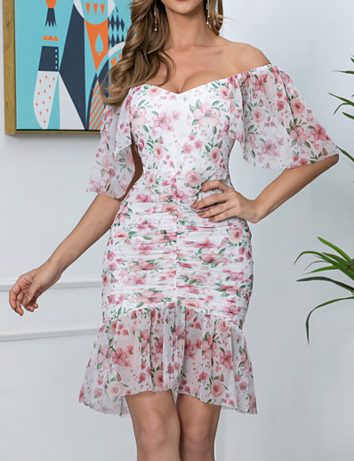 cheap Summer Dresses-Womens Pink Chiffon Square Neck Causal Dress Ruched Frill Detail  MM0684