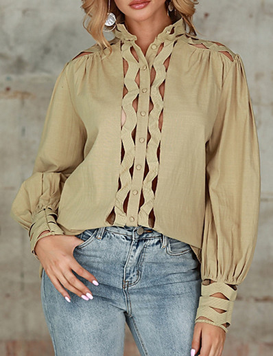 cheap TOPS-Womens Sexy Casual Long Sleeve Hollow Latest Fashion Design Blouse A-05