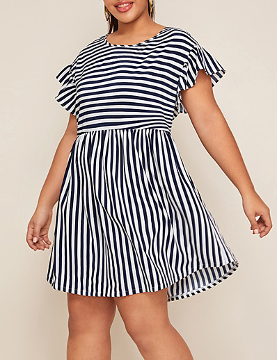 cheap Plus Size Dresses-Women's Plus Size Sheath Dress - Long Sleeve Striped Solid Color Spring & Summer Casual Basic Daily Going out Blue Red Yellow Fuchsia Navy Blue S M L XL
