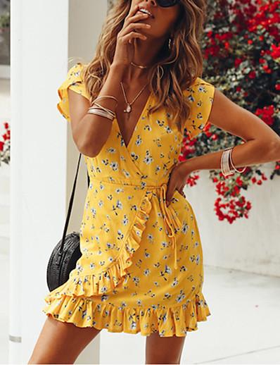 cheap 05/13/2020-Women's A Line Dress - Short Sleeves Print Print V Neck Boho Going out Beach Yellow S M L XL XXL XXXL XXXXL XXXXXL / Cotton