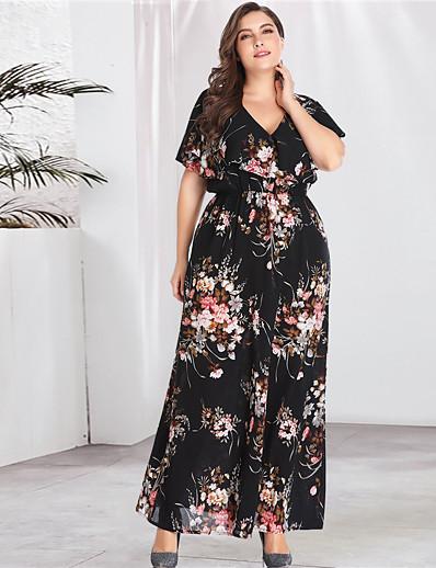 cheap PLUS SIZE-Women's Plus Size Maxi A Line Dress - Long Sleeve Floral Print Spring & Summer V Neck Boho Street chic Daily Going out Flare Cuff Sleeve Black XL XXL XXXL XXXXL XXXXXL